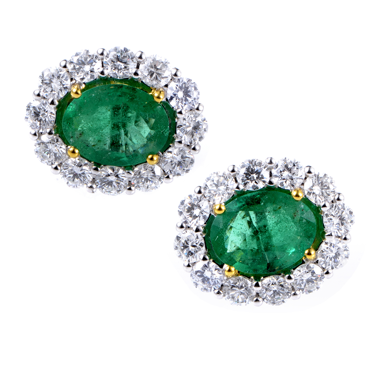 18K Multi-Tone Diamond & Emerald Earrings SEME36871RBZEM