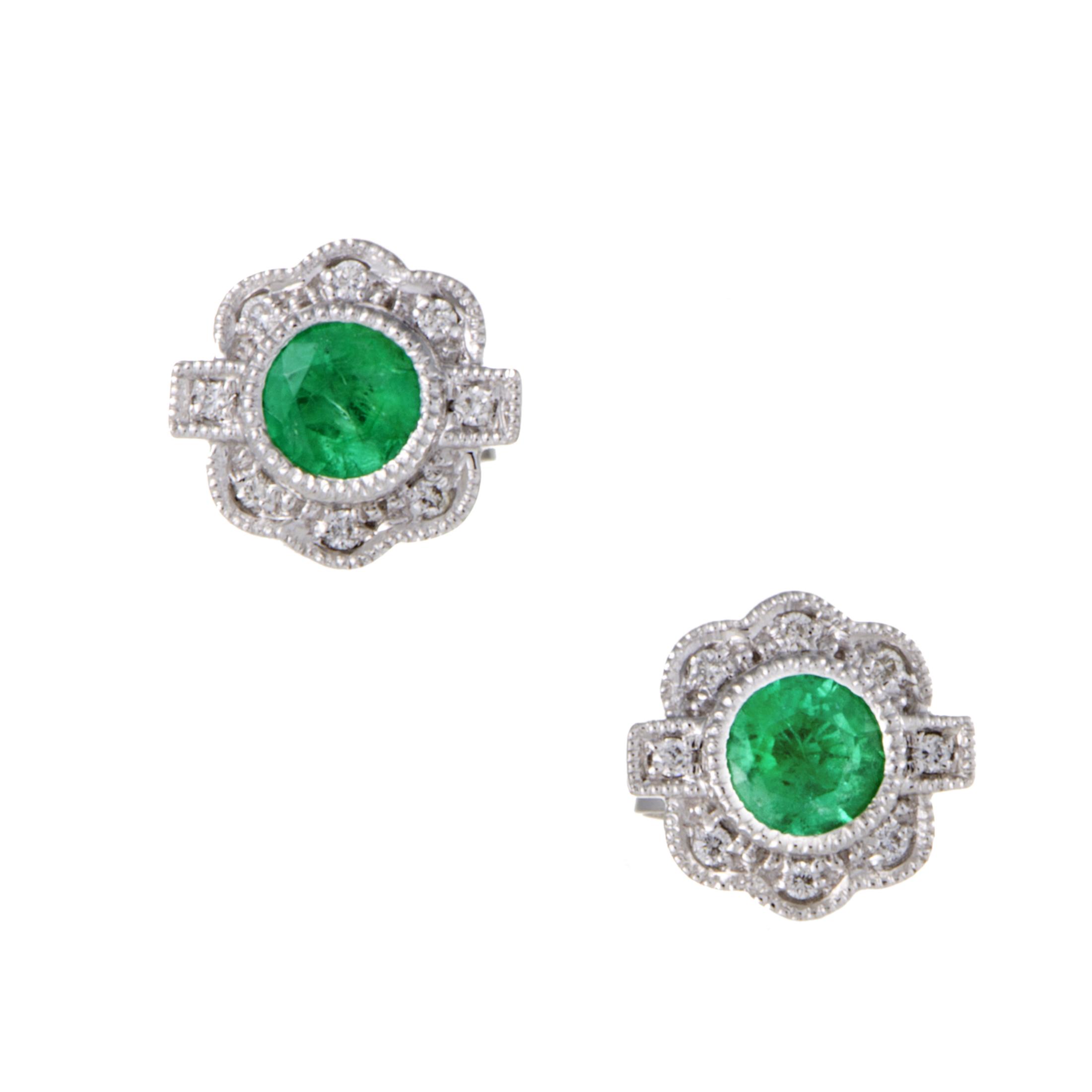 Womens 18K White Gold Diamond and Emerald Stud Earrings