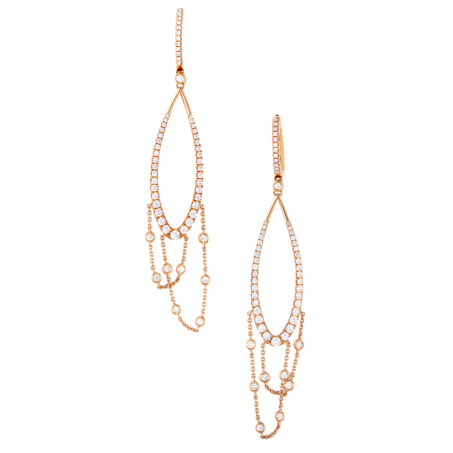 Women's 18K Rose Gold Diamond Dangle Earrings SER65ERZ