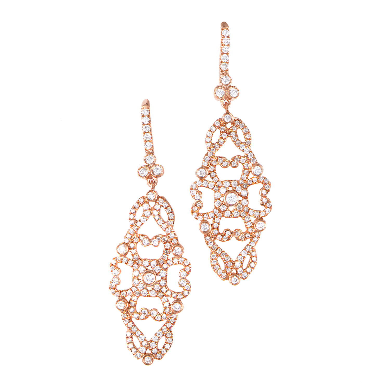Women's 18K Rose Gold Diamond Lace Dangle Earrings SERE076ABRZ