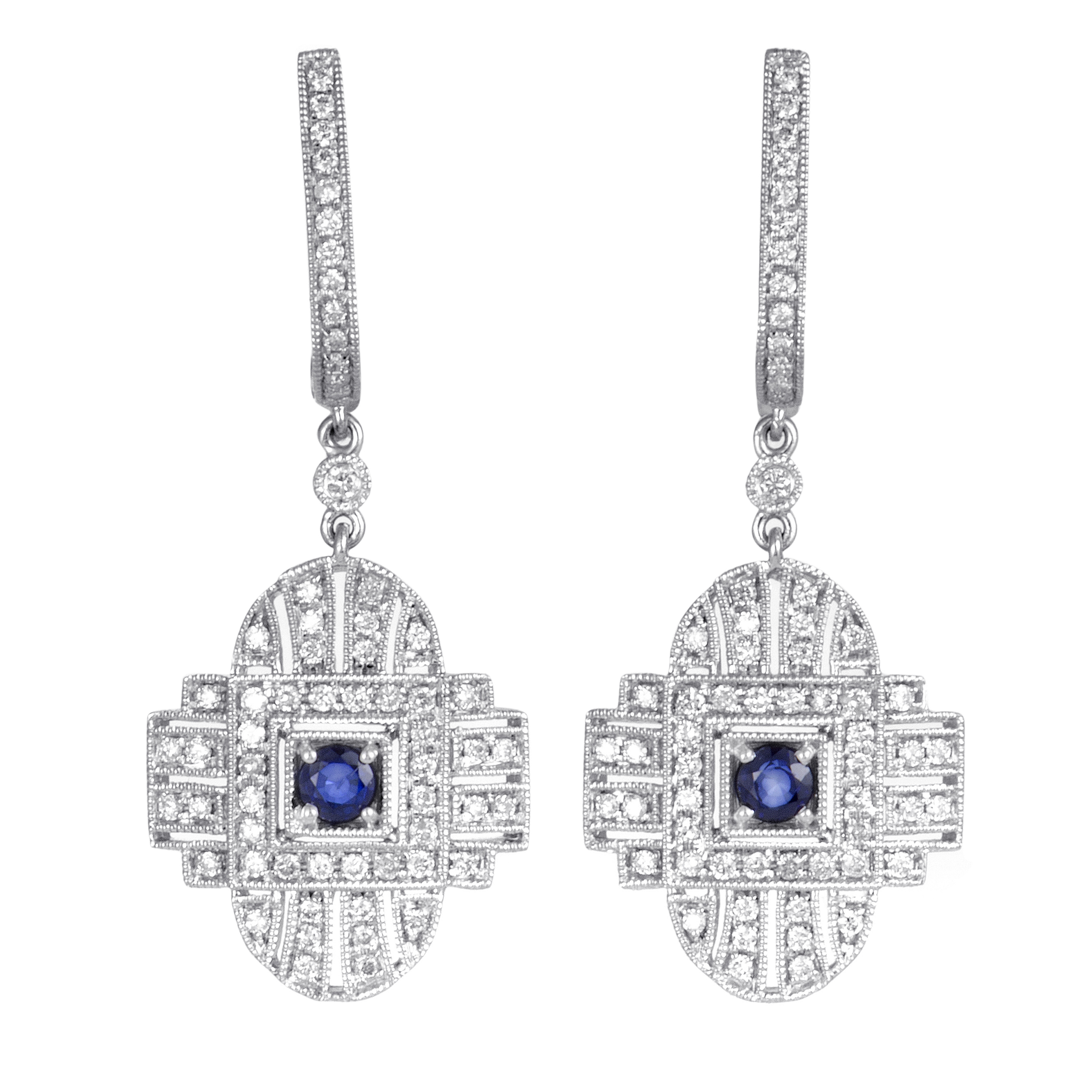 Womens 18K White Gold Diamond and Sapphire Dangle Earrings