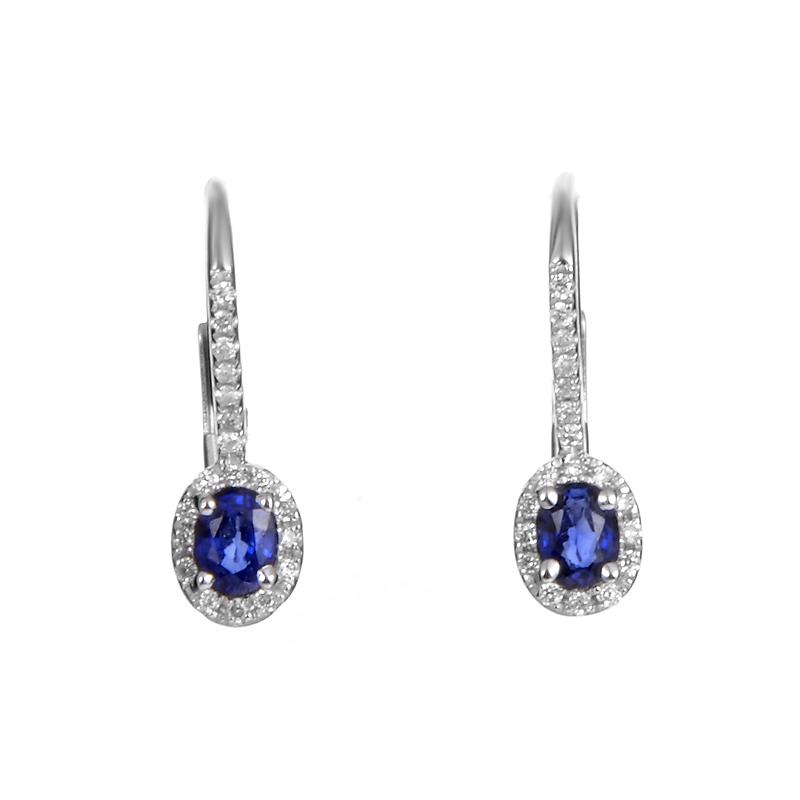 Women's 18K White Gold Sapphire & Diamond Huggie Earrings SESB70741RBZ