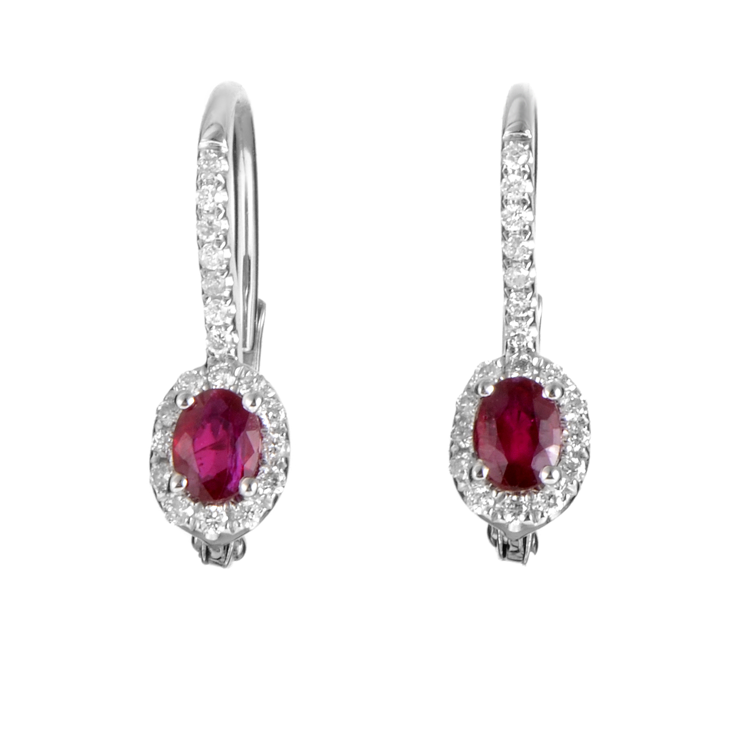 Women's 18K White Gold Diamond & Ruby Earrings SEUR70741RBZRU