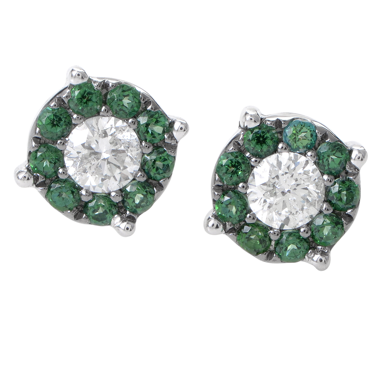 Women's 18K White Gold Diamond & Emerald Pave Stud Earrings