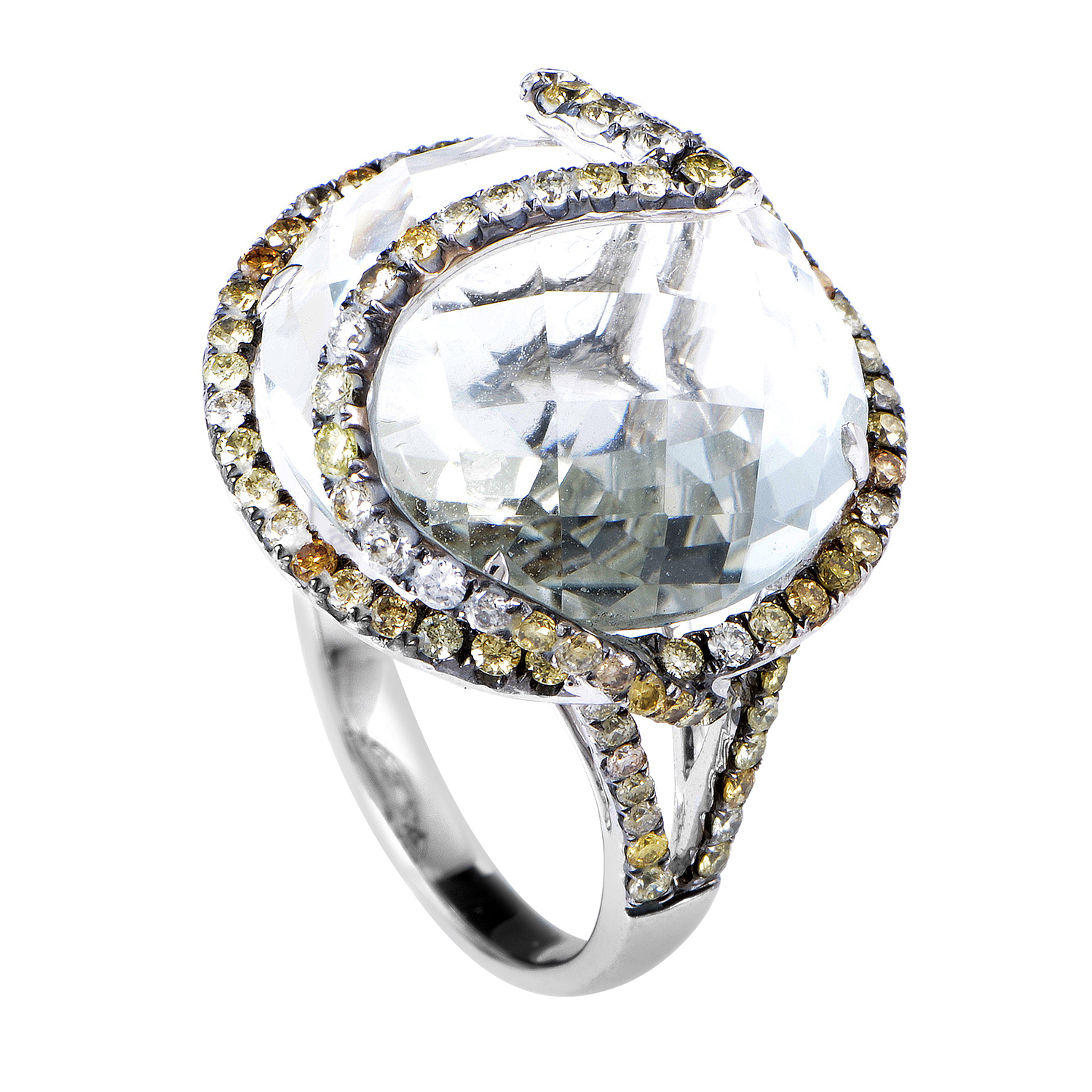 Women's 18K White Gold Diamond & Green Amethyst Ring YRP01-032614