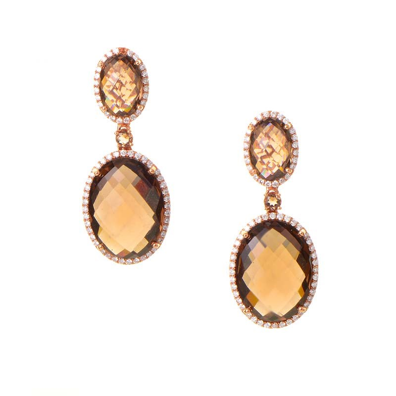 Rose Earring Earrings 18k Rose Gold Smokey