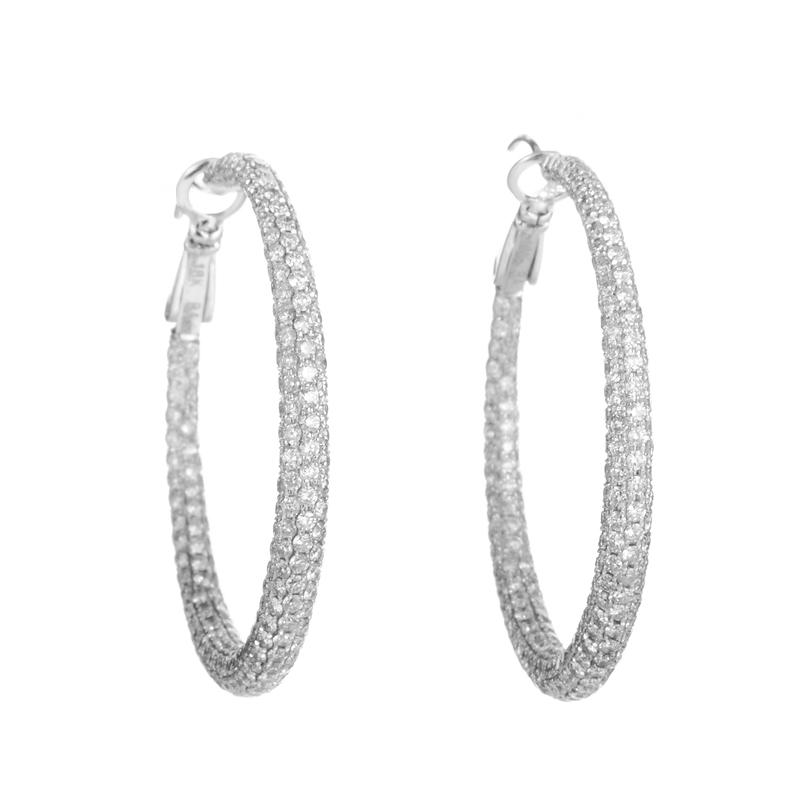 18K White Gold Diamond Pave Hoop Earrings YRP02-271014