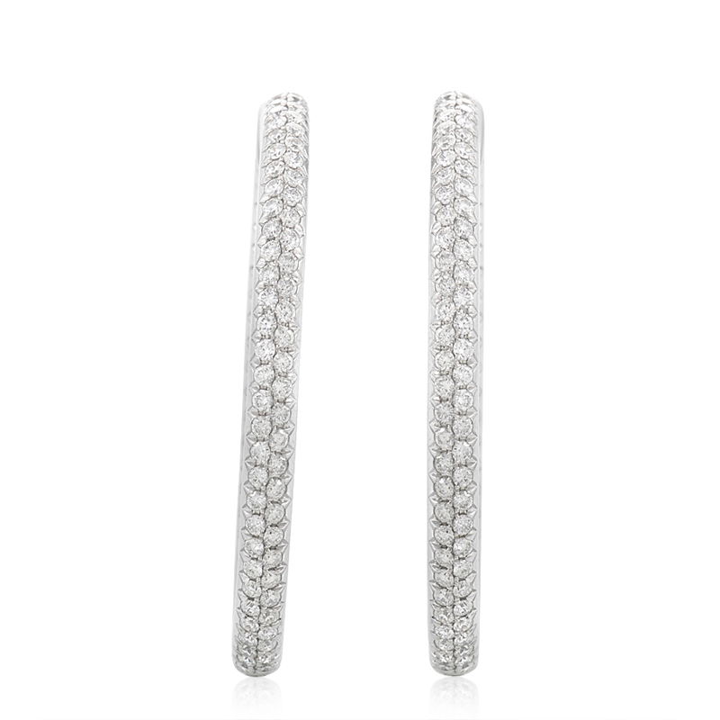 18K White Gold Micro-Pave Hoop Earrings ODE04-271014