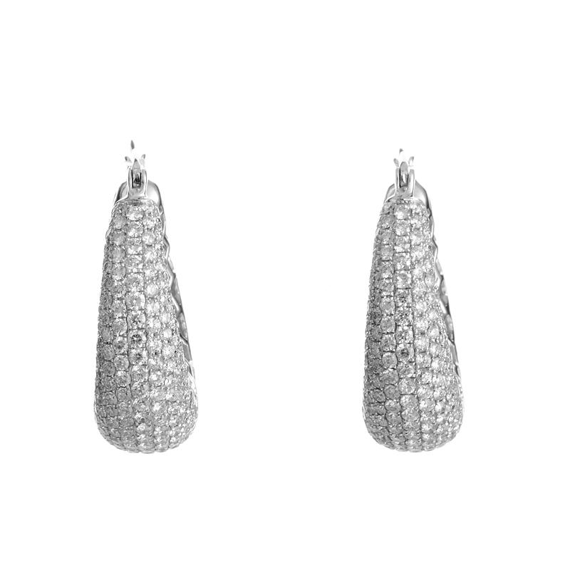 18K White Gold Diamond Pave Petite Hoop Earrings YRP06-271014