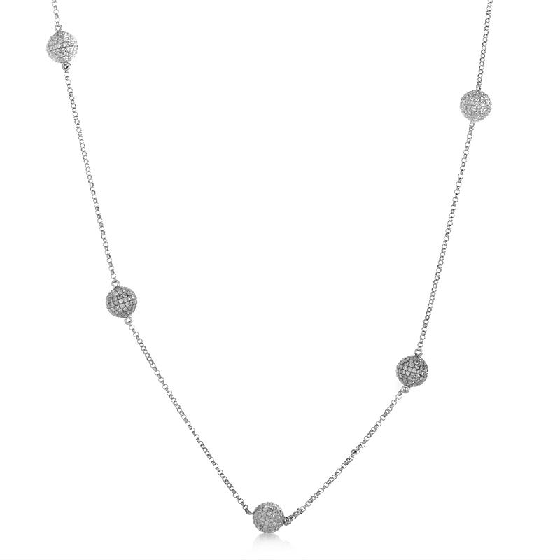 18K White Gold Diamond Pave Spheres Necklace YRP11-271014