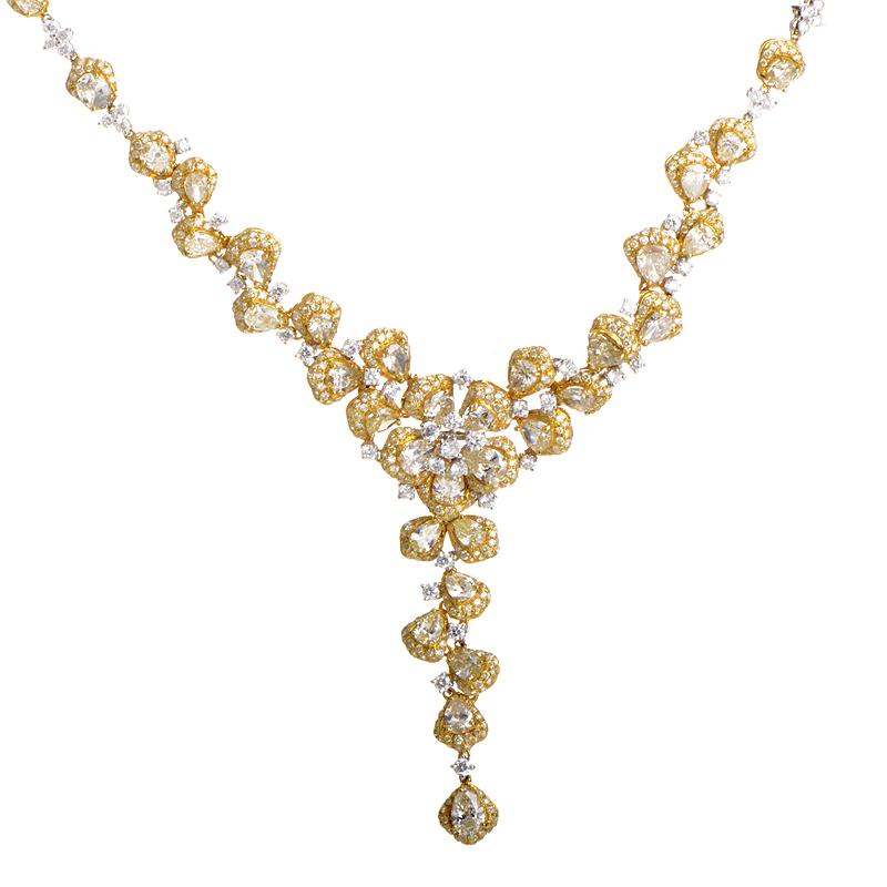 18K Multi-Gold Diamond Floral Necklace YRP12-271014