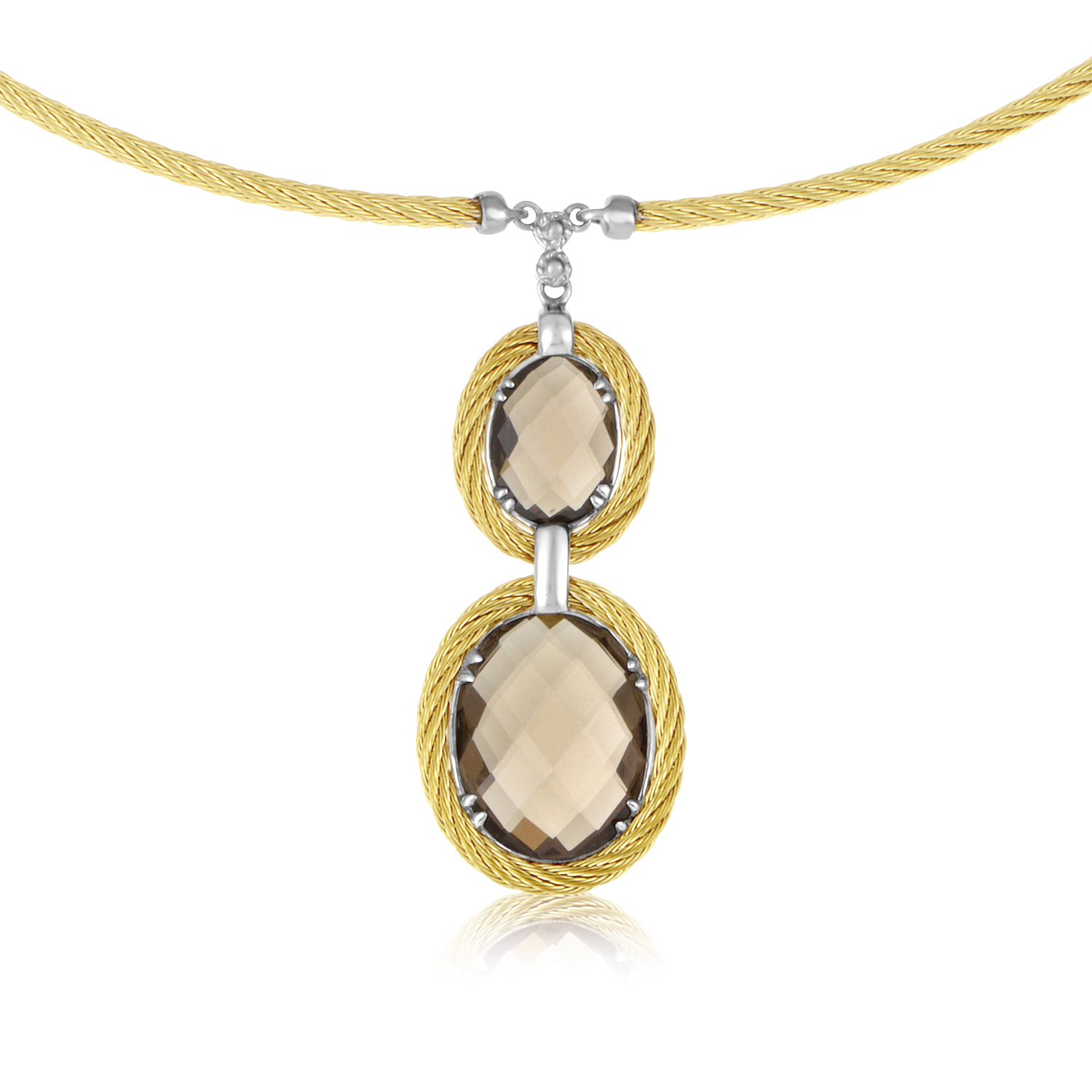 Yellow PVD Coated Stainless Steel Celtic Cable Necklace with 18K White Gold Accents and Two Hanging Oval Shaped Smoky Quartz Stones