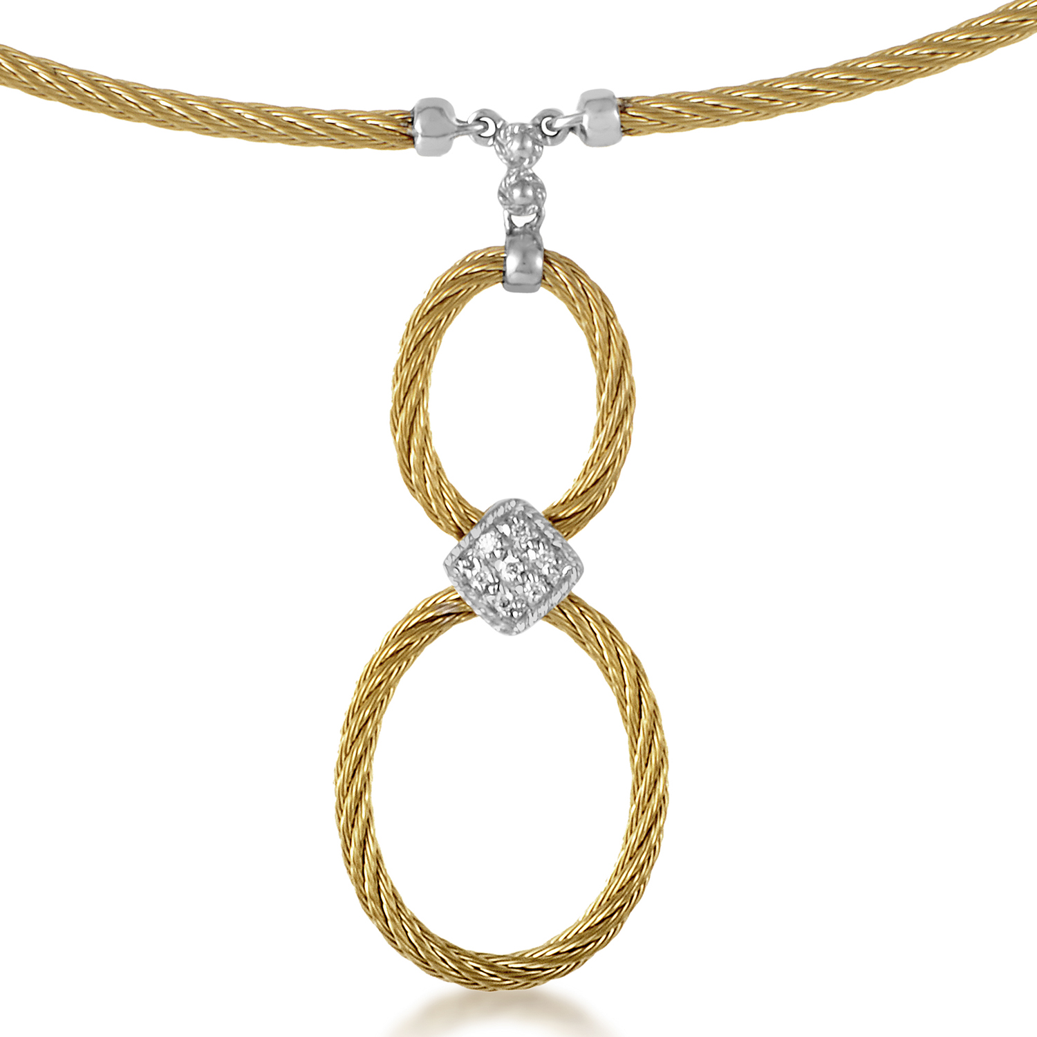 Celtic Cable 18K Treated Stainless Steel Diamond Necklace