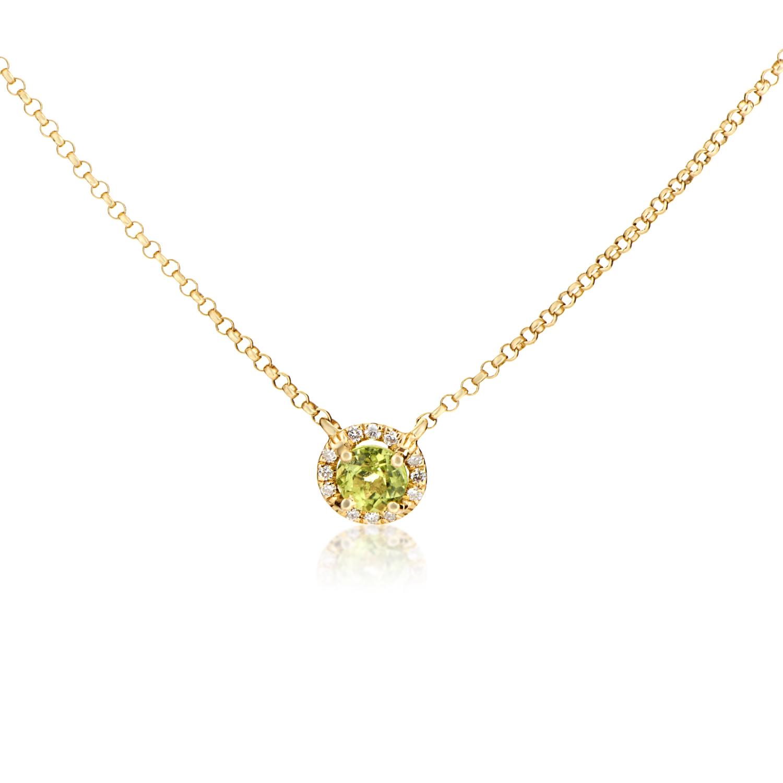 Women's 18K Yellow Gold Diamond & Peridot Solitaire Pendant Necklace