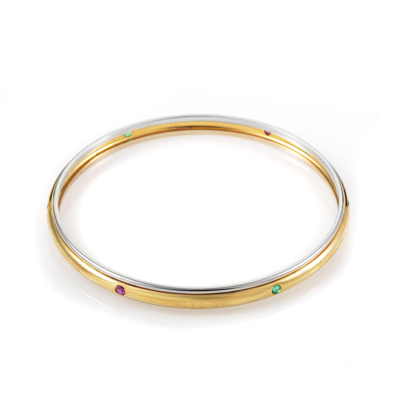 Yves Saint Laurent Women's 18K Multi-Tone Gold Precious Gemstone Bangle