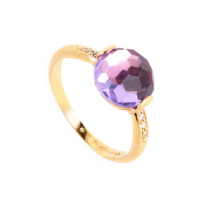 18K Rose Gold Amethyst & Diamond Ring LA8-01773