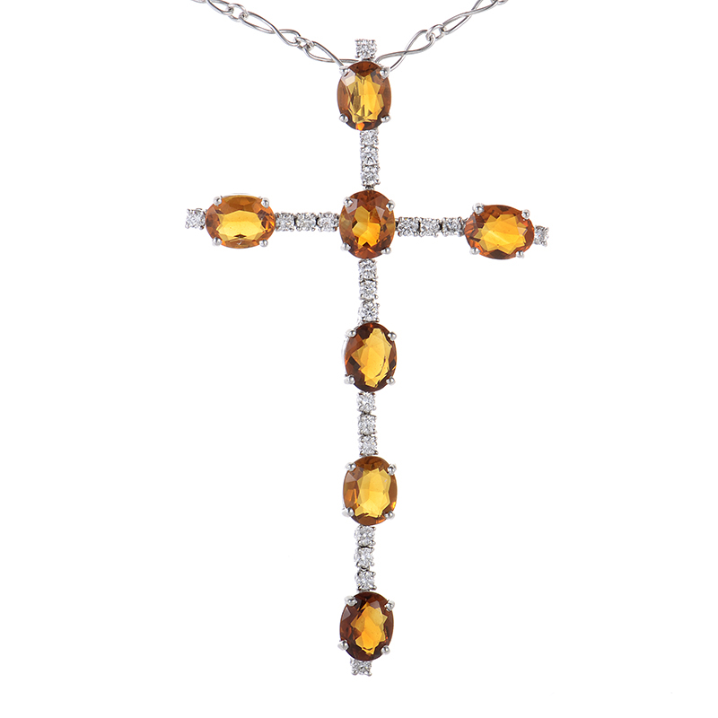 18K White Gold Diamond and Citrine Crucifix Pendant Necklace