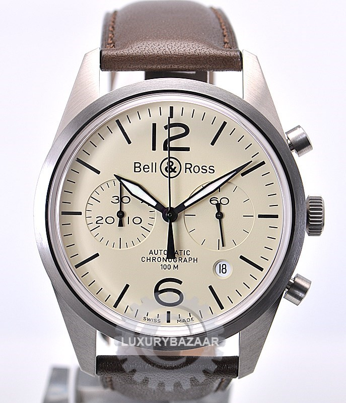 Vintage BR126 Original Chronograph (SS / Beige / Leather Strap)