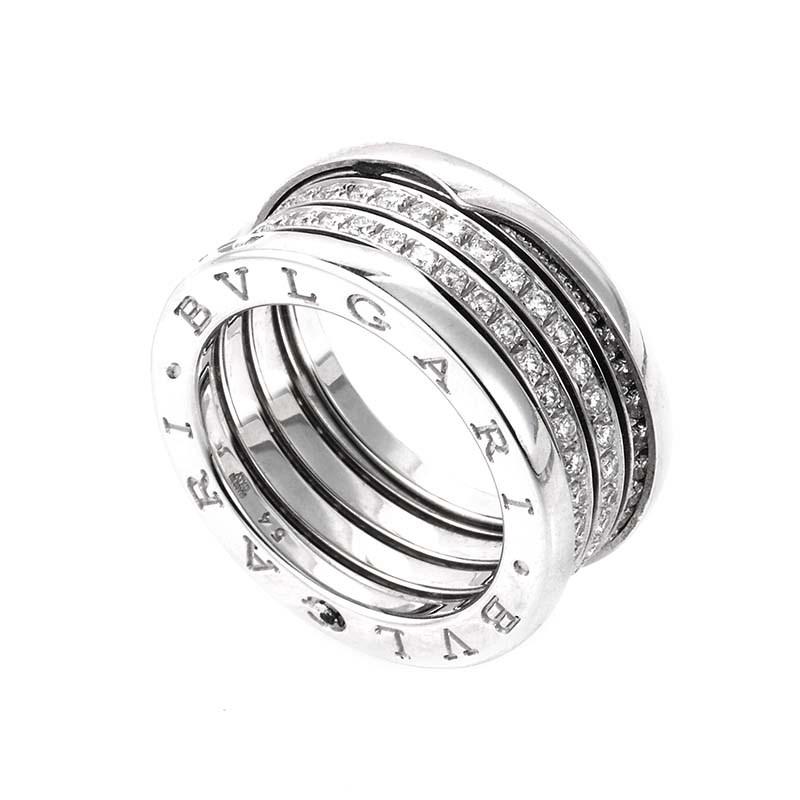 B.ZERO1 18K White Gold 3 Band Diamond Pave Band Ring AN850556