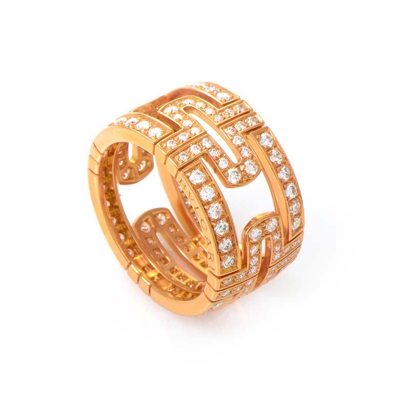Parentesi 18K Rose Gold Full Pave Band Ring AN854514