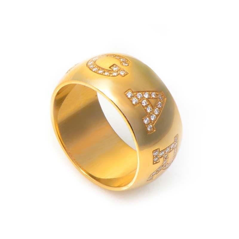 Monologo 18K Yellow Gold Diamond Band Ring AN854515