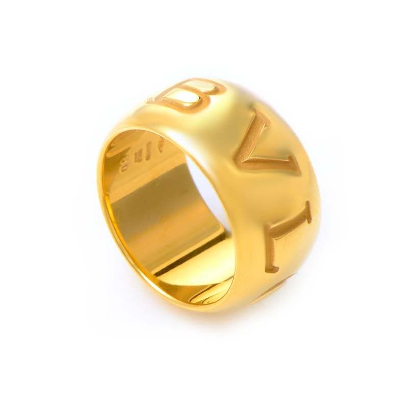Monologo 18K Yellow Gold Band Ring AN854529