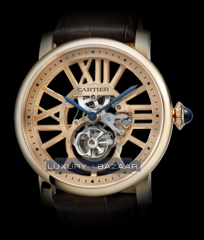 Rotonde de Cartier Flying Tourbillon (PG / PG Skeleton / Leather Strap)