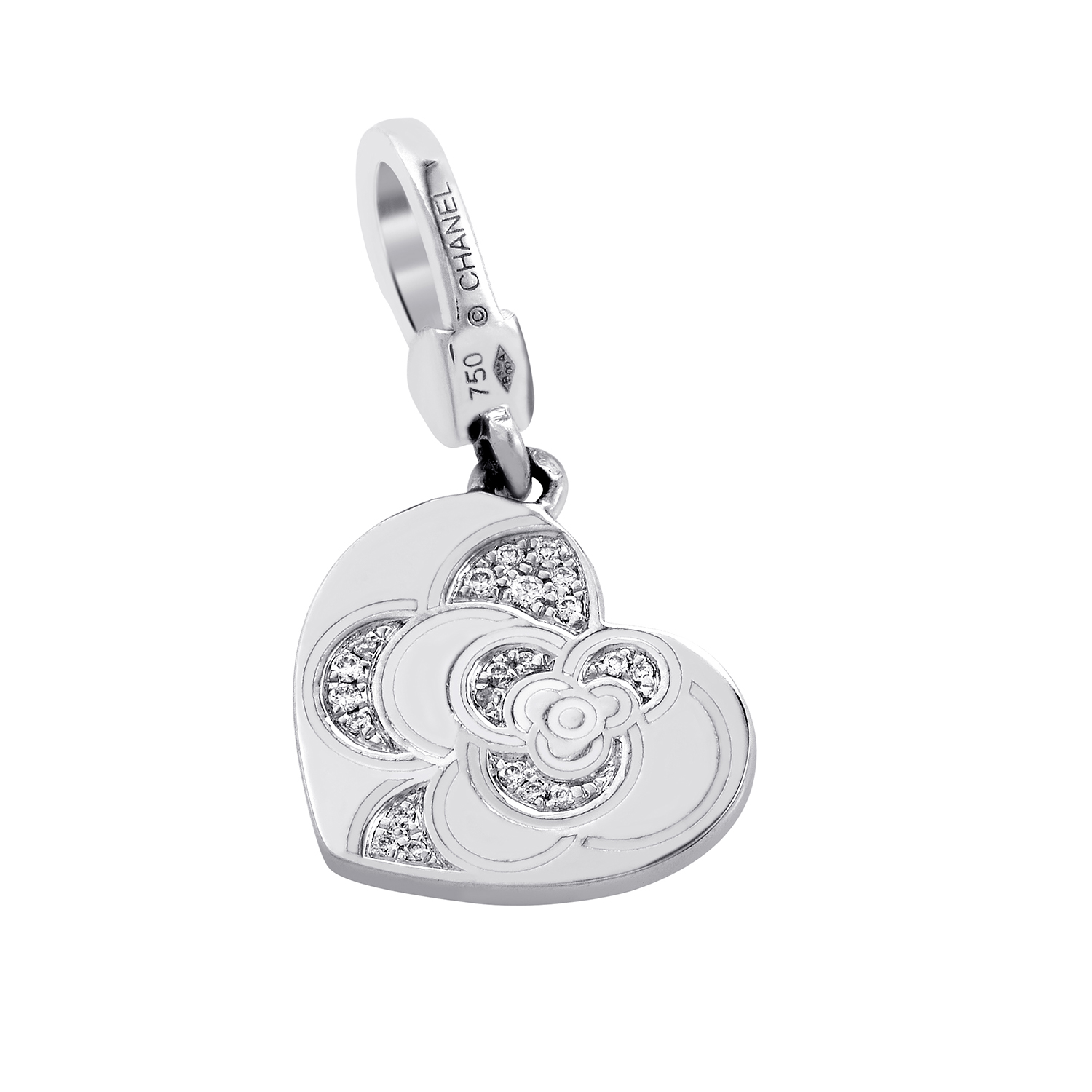 Chanel Camelia Heart 18K White Gold Diamond Charm