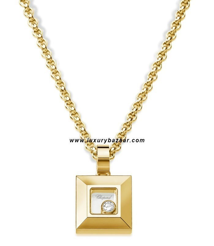 Happy Diamonds Square Floating Diamond Yellow Gold Necklace