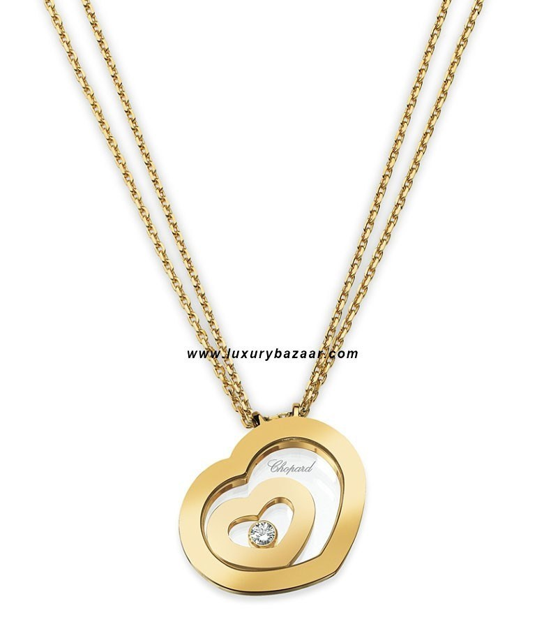 Happy Spirit Small Floating Heart Necklace Yellow Gold