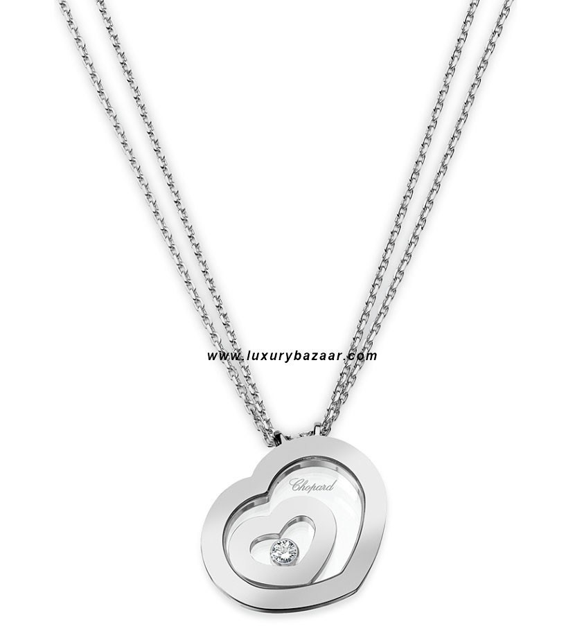 Happy Spirit Small Floating Heart Necklace White Gold