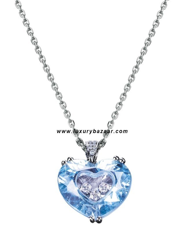 So Happy Blue Stone Heart 3 Floating Diamonds White 82