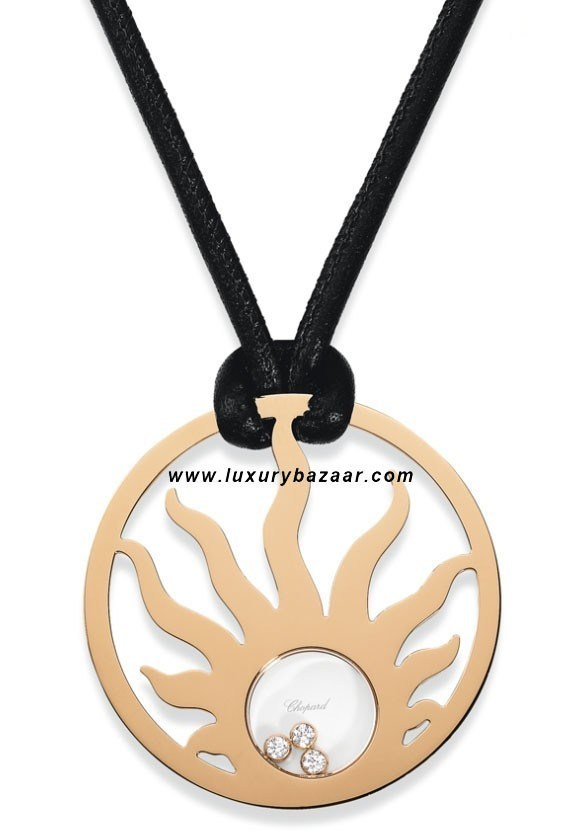 Happy Diamonds Sun 3 Floating Diamonds Rose Gold Necklace