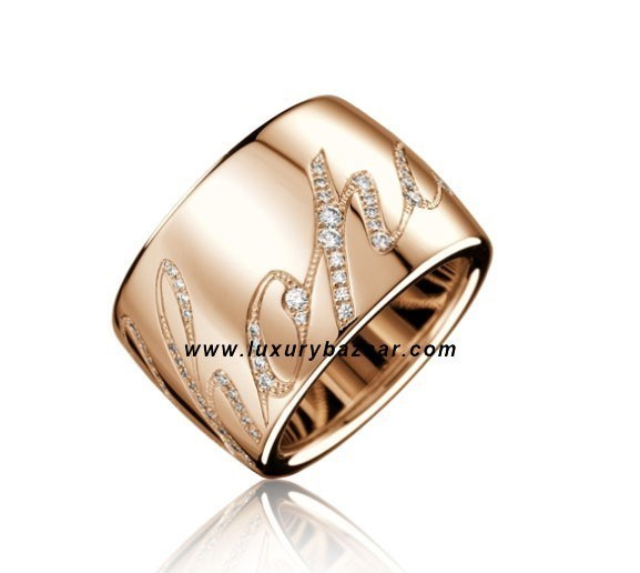 Chopardissimo Revolving Signature Diamond Rose Gold Ring
