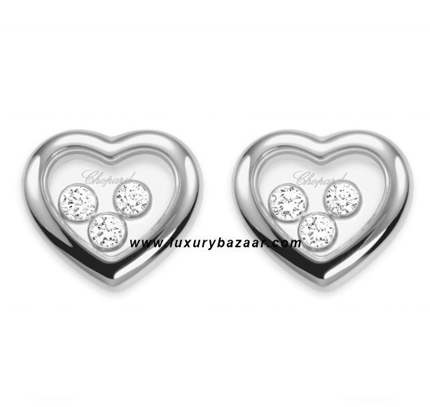 Happy Diamonds Heart 3 Floating Diamonds White Gold Earrings