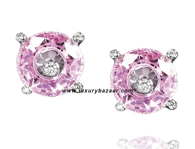 So Happy Pink Stone Floating Diamond White Gold Earrings