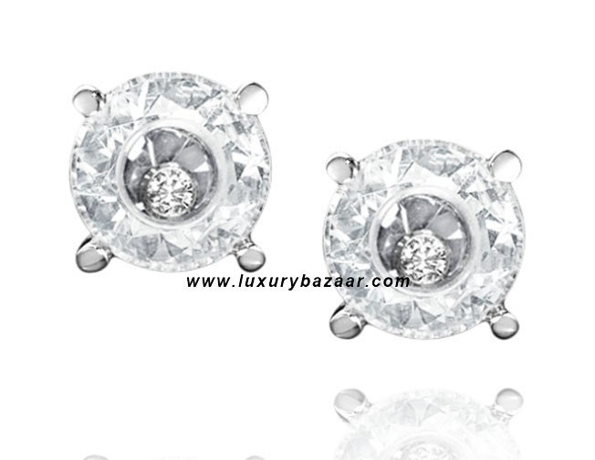 So Happy White Stone Floating Diamond White Gold Earrings