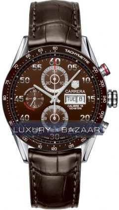 Carrera Chronograph Tachymeter Day-Date (SS / Brown / Leather )