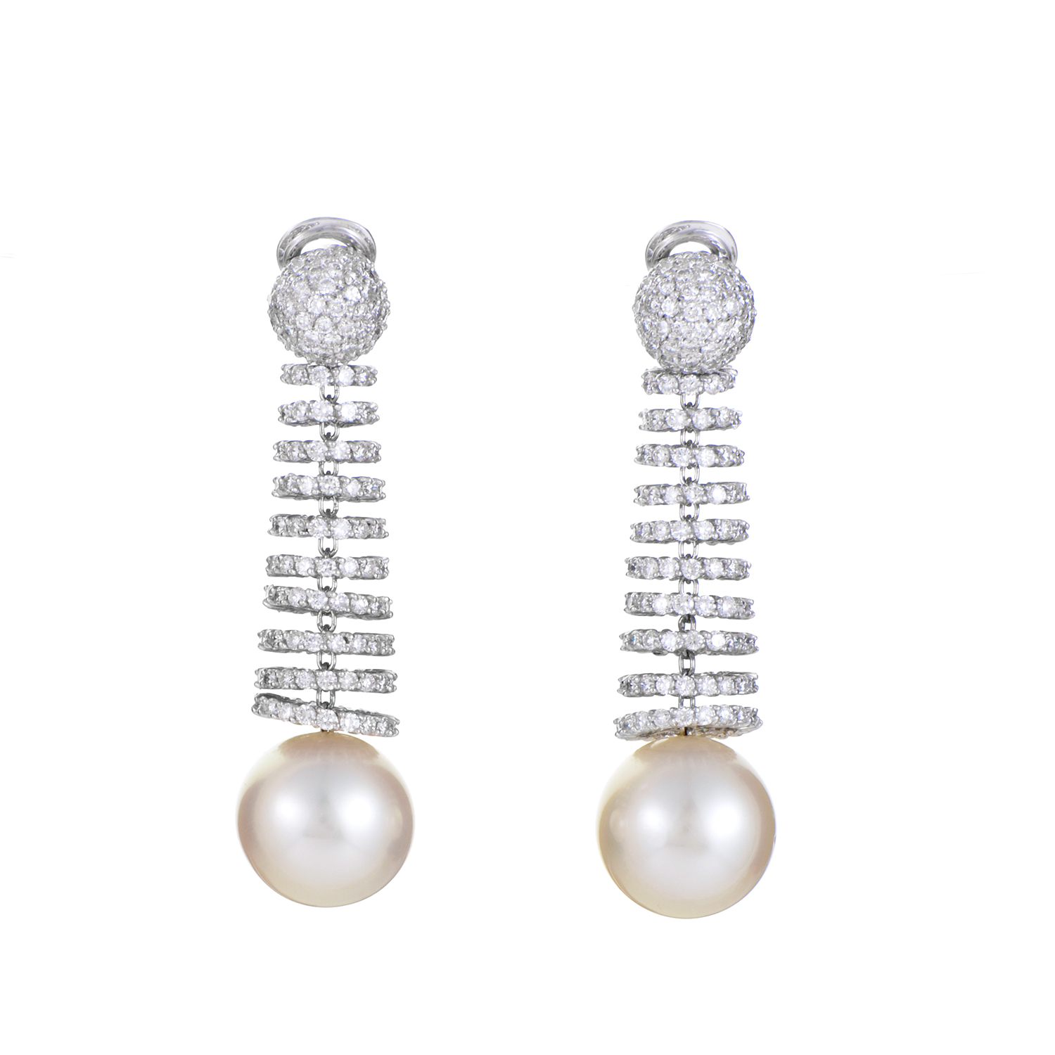 Women's 18K White Gold Diamond & Pearl Clip-On Earrings DEG01-021016