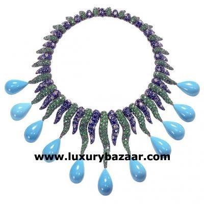 Distinctive 18K White Gold Bijoux Collier Galuchat Collection Gemstone Necklace