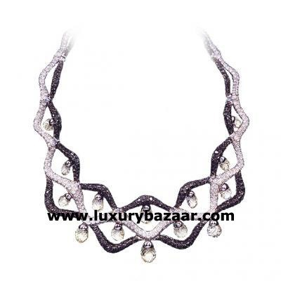 Captivating 18K White Gold Bijoux Collier Haute Joaillerie Collection Diamond Necklace