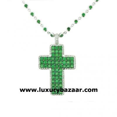 Glamorous 18K White Gold Bijoux Collier Croix Collect Tsavorite and Diamond Necklace