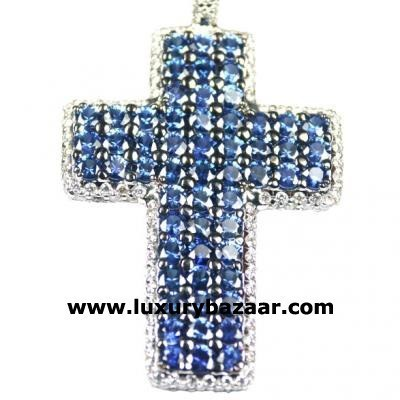 Glamorous 18K White Gold Bijoux Collier Croix Collect Sapphire and Diamond Necklace