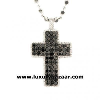 Glamorous 18K White Gold Bijoux Collier Croix Collect Diamond Necklace