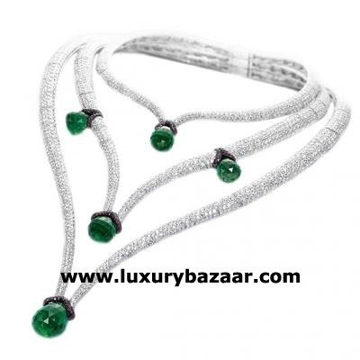 Breathtaking 18K White Gold Bijoux Collier Haute Joaillerie Collection Emerald and Diamond Necklace