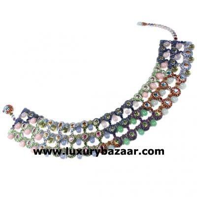 Stylish 18K White Gold Bijoux Collier Seville Collection Gemstone Necklace