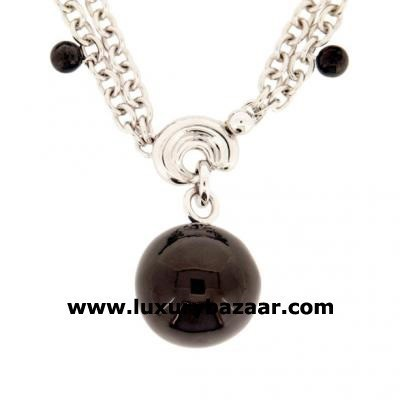 Modern 18K White and Blackened Gold Bijoux Collier Boule Collection Necklace