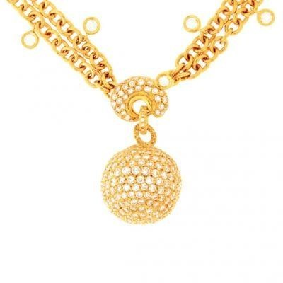 Modern 18K Yellow Gold Bijoux Collier Boule Collection Diamond Necklace