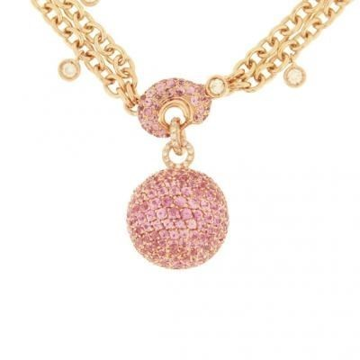 Bold 18K Rose Gold Bijoux Collier Boule Collection Diamond and Sapphire Necklace