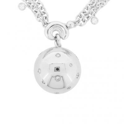Bold 18K White Gold Bijoux Collier Boule Collection Diamond Necklace